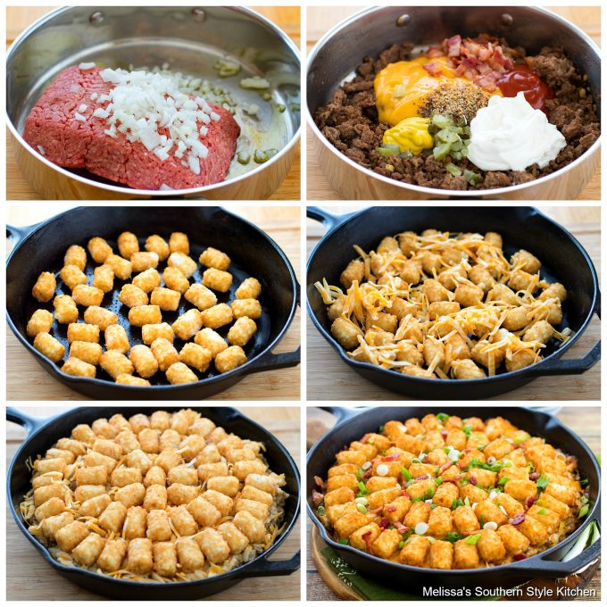 Step-by-step preparation images and ingredients for cheeseburger casserole