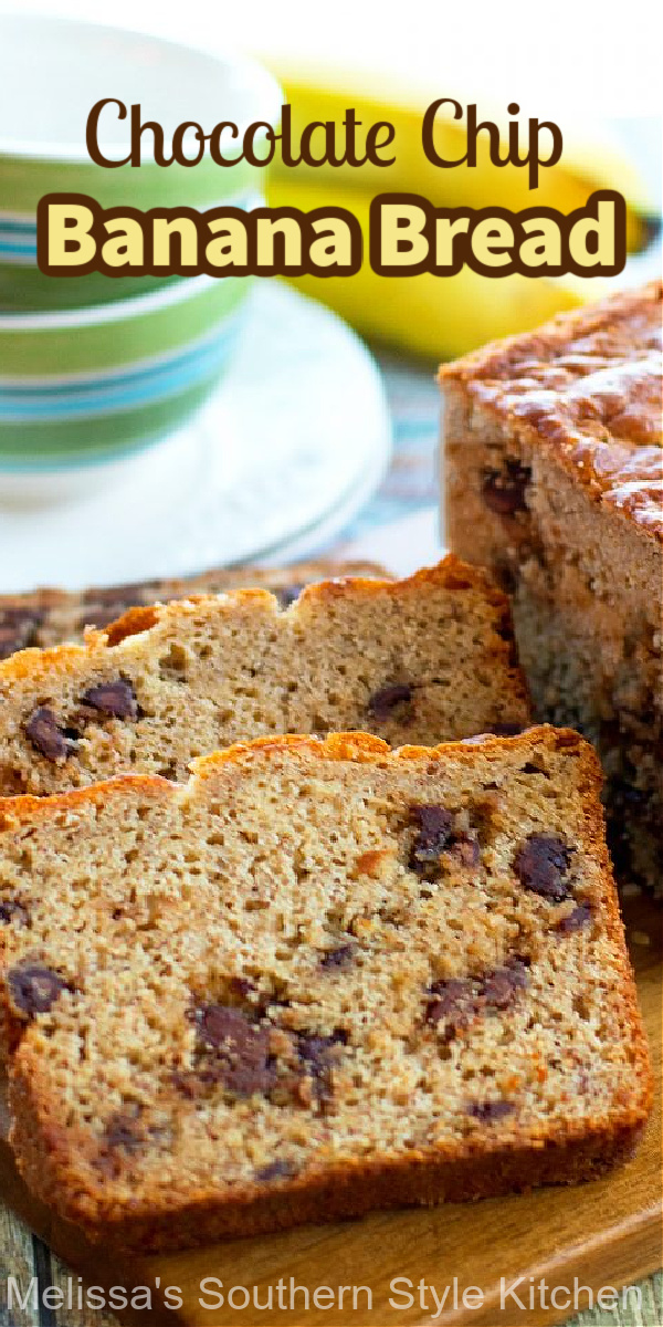 Enjoy a generous slice of Chocolate Chip Banana Bread for an any-time-of-day treat #bananabread #chocolatechip #chocolatechipbananabread #breadrecipes #bananas #brunch #teatime #breakfastrecipes #southernfood #southernrecipes