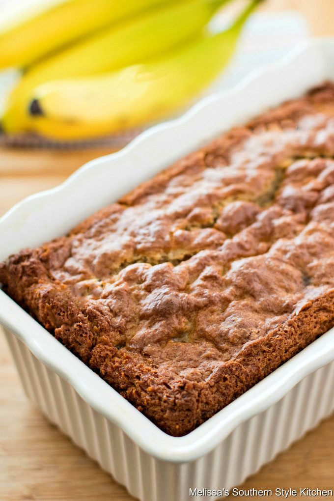 Baked Chocolate Chip Banana Bread in a loaf pan