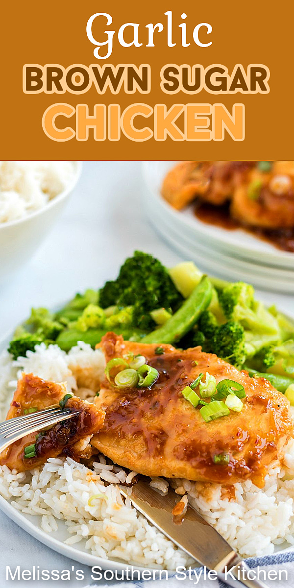 You can have this flavorful Garlic Brown Sugar Chicken on the table in 20 minutes #garlichicken #garlicbrownsugarchicken #chickenrecipes #easychickenrecipes #dinner #dinnerideas #southernfood #southernrecipes #bonelesschicken #chickenbreastrecipes