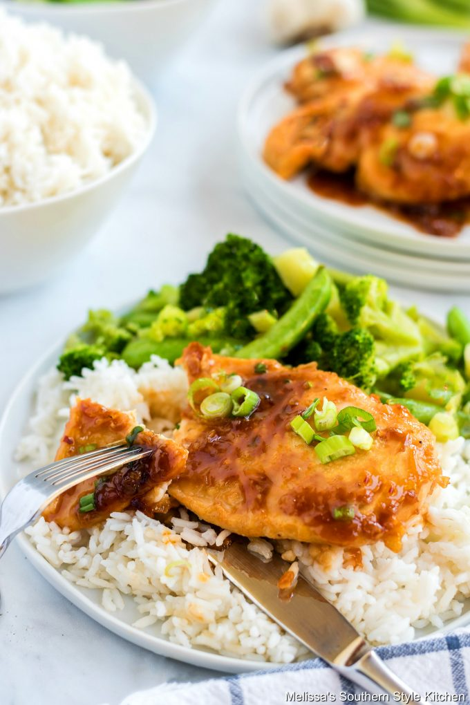 Garlic Brown Sugar Chicken on a plate with rice and broccoli
