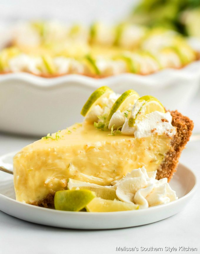 Single slice of Key Lime Pie on a plate