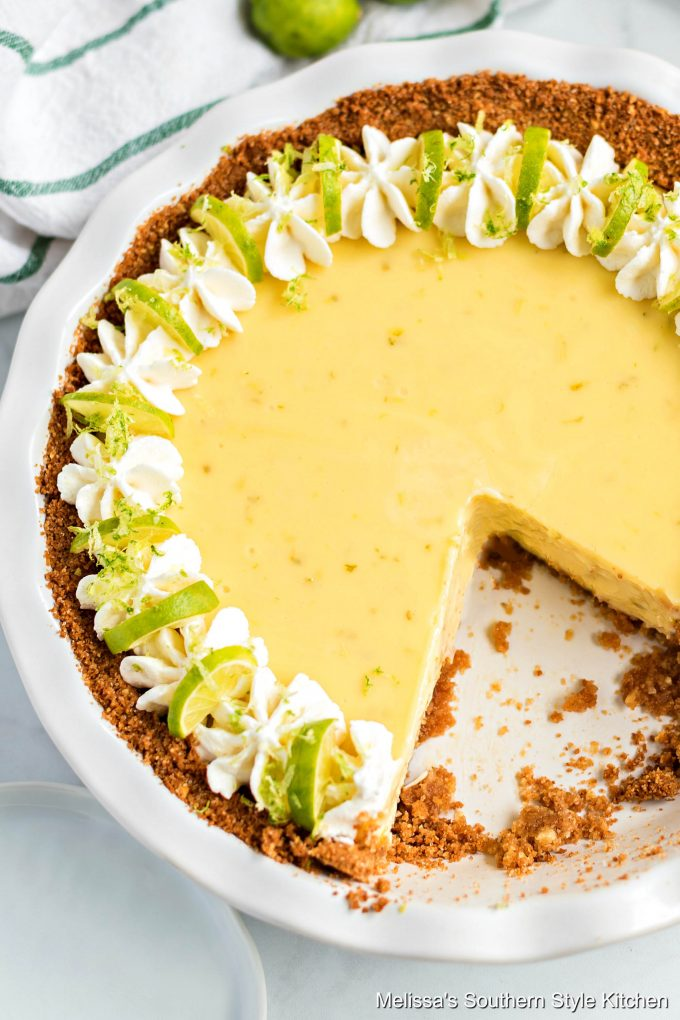Baked Key Lime Pie in a white pie dish