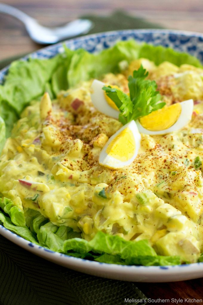 Southern Potato Salad in a bowl garnished with boiled eggs