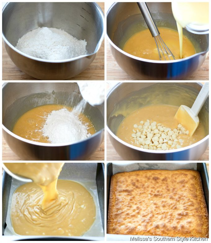 Step-by-step preparation images and ingredients for white chocolate brownies