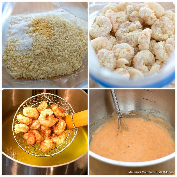 Step-by-step preparation images and ingredients for Bang Bang Shrimp