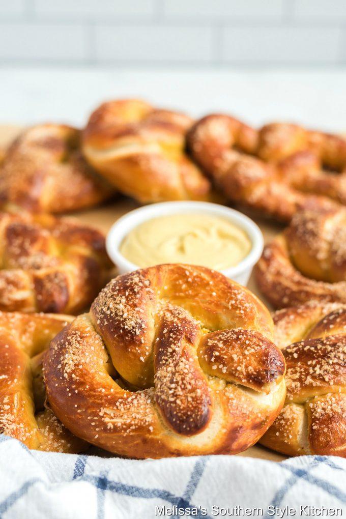 Baked Soft Pretzels in a basket