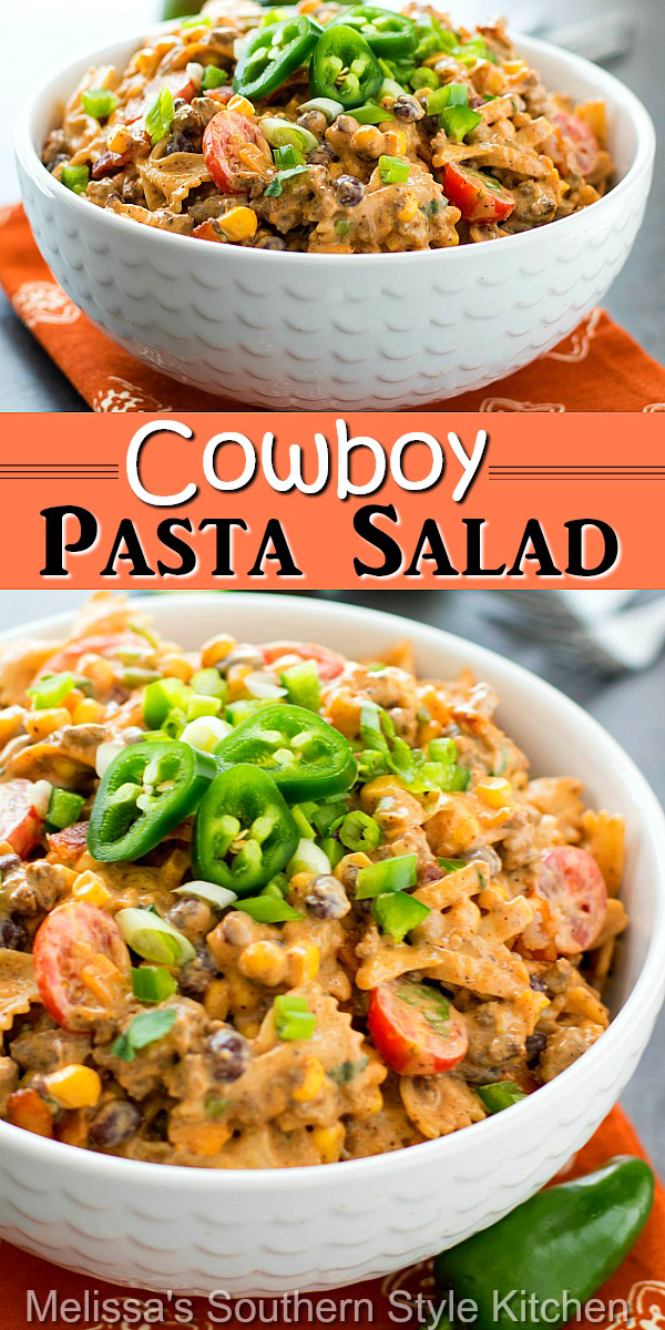 This kicked-up pasta salad doubles as a side dish or an entrée #cowboypastasalad #pastasaladrecipes #pasta #easygroundbeefrecipes #beef #sidedishrecipes #dinner #cowboypasta #bowtiepasta #southernfood #southernrecipes