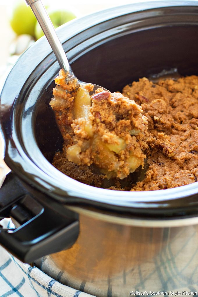 Apple dump cake in a slow cooker