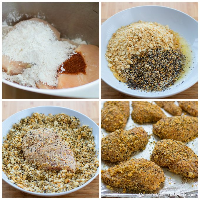 Step-by-step preparation images and ingredients for Everything Bagel Chicken