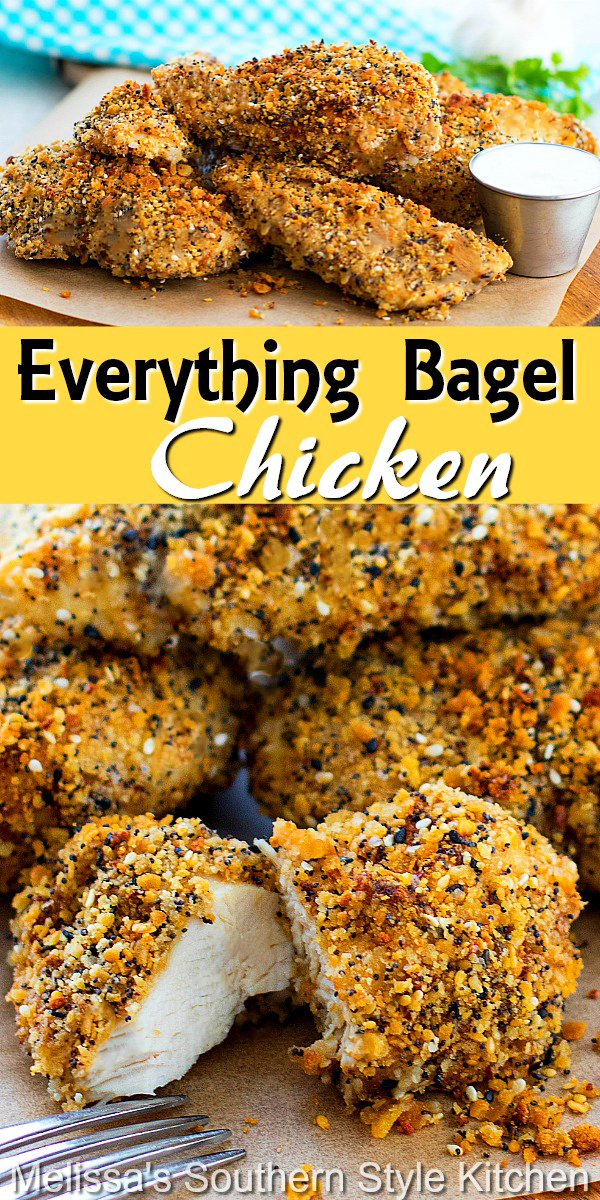 These flavorful Everything Bagel seasoned chicken breasts make a mouthwatering weekday entree or smaller bites as an appetizer #chicken #chickenbreasts #chickenrecipes #everythingbagel #seasonedchicken #easychickenbreastrecipes #everythingbagelseasoning #dinner #dinnerideas #southernfood #southernrecipes #bakedchicken