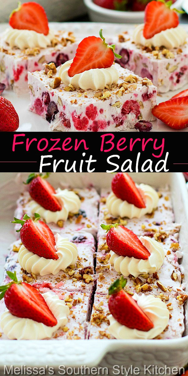 This easy peasy Frozen Berry Fruit Salad is a cinch to make #frozenberryfruitsalad #frozenfruitsalad #fruitsalad #fruitsaladrecipes #freshfruit #strawberries #blueberries #desserts #dessertfoodrecipes #southernfood #southernrecipes