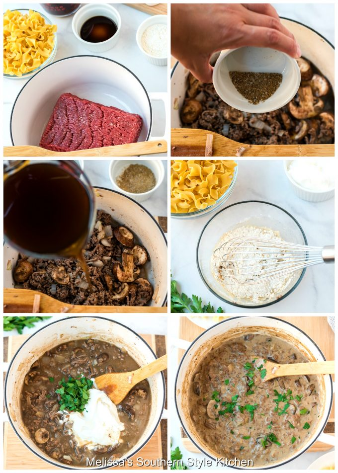Step-by-step preparation images and ingredients for Ground Beef Stroganoff