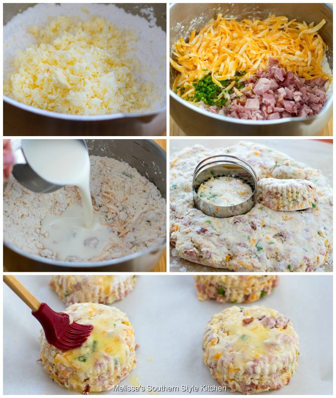 Step-by-step preparation images and ingredients for ham and cheese biscuits
