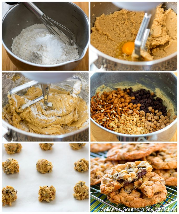 Step-by-step preparation images and ingredients for cookies