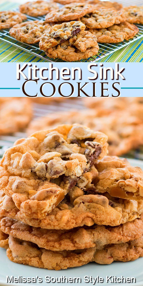 These sweet and salty Kitchen Sink Cookies are fully loaded with chocolate and peanut butter chips, peanuts, caramel bits and pretzels #kitchensinkcookies #cookies #cookierecipes #chocolatechipcookies #sweets #christmascookies #holidaybaking #holidays #desserts #dessertfoodrecipes #southernfood #southernrecipes