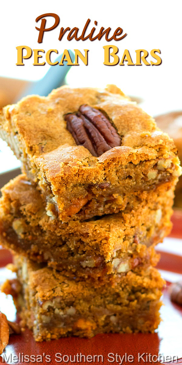 These rich and buttery Praline Pecan Bars are addictive in the BEST way #pecanpralines #pecanbars #cookiebars #desserts #dessertfoodrecipes #pralinepecanbars #pecans #southerndesserts #southernfood #southernrecipes #holidaybaking #Christmasrecipes