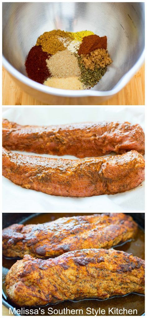 Step-by-step preparation images and spice ingredients for pork