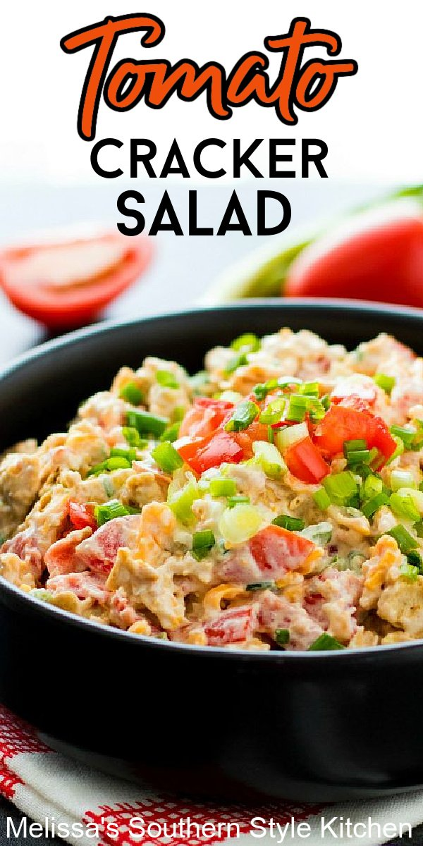 This scrumptious salad features plum tomatoes, green onion and hard boiled egg with a sprinkling of cheddar cheese. Tossed with a seasoned mayonnaise dressing and Saltine crackers it's certain to be the talk of your salads menu. #tomatocrackersalad #crackersalad #tomatosalad #summersides #saladrecipes ##plumtomatoes #tomatorecipes #southernfood #vegetarian #southernrecipes