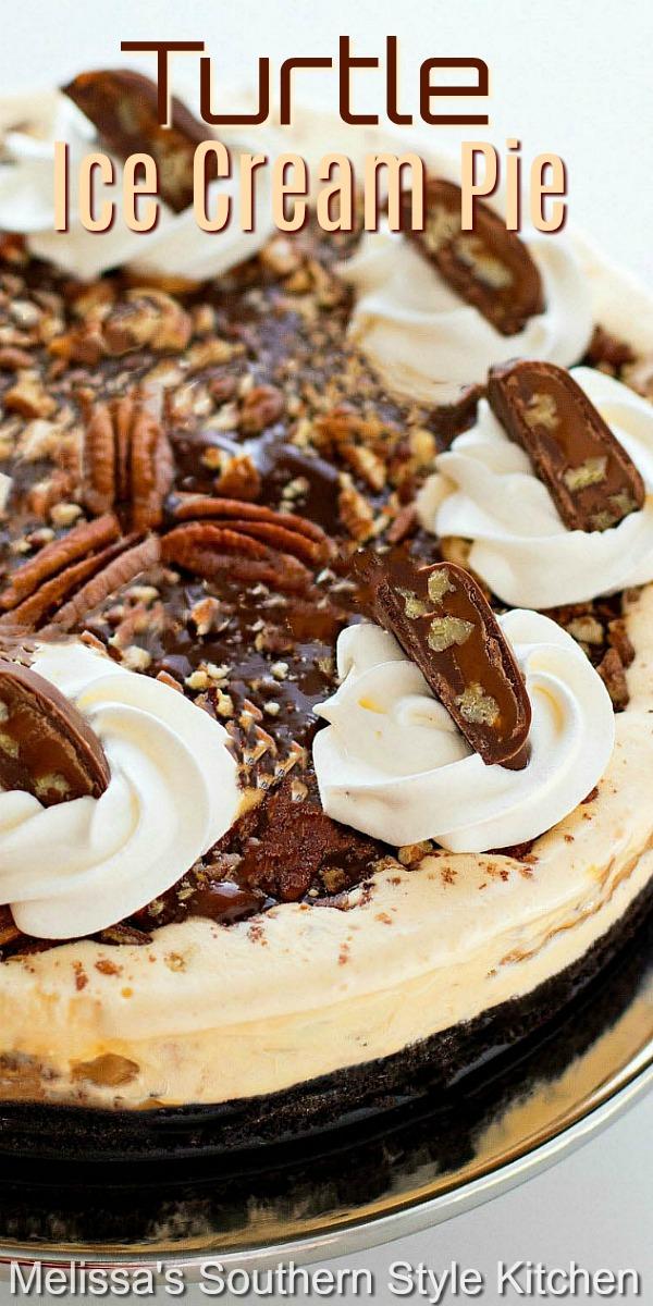 You'll be hooked from the very first bite of this decadent Turtle Ice Cream Pie #icecreampie #turtlepie #caramelicecream #frozenpierecipes #icecream #summerdesserts #summer #dessertfoodrecipes #desserts #hotfudge #pierecipes