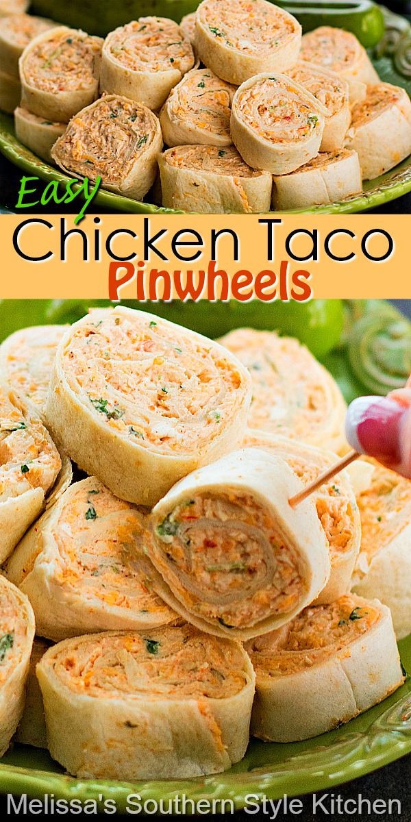 Serve-up a big platter of these Chicken Taco Pinwheels for appetizers, game day snacks or holiday parties #chickentacos #chickentacopinwheels #easychickenrecipes #appetizers #chickenpinwheels #gamedaysnacks #tacos #partyfood #southernrecipes #southernfood #chicken