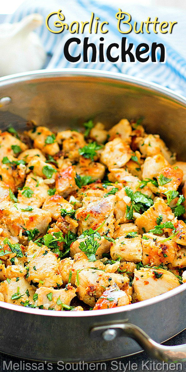 You can have this easy Garlic Butter Chicken on the table in no time flat #garlicbutterchicken #easychickenrecipes #skilletchickenrecipes #dinnerideas #dinnerrecipes #chickenbreastrecipes #southernfood #southernrecipes #skilletmeals