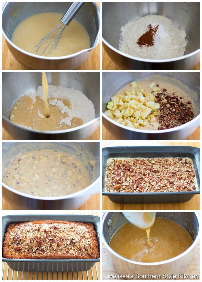 Step-by-step preparation images and ingredients for apple bread