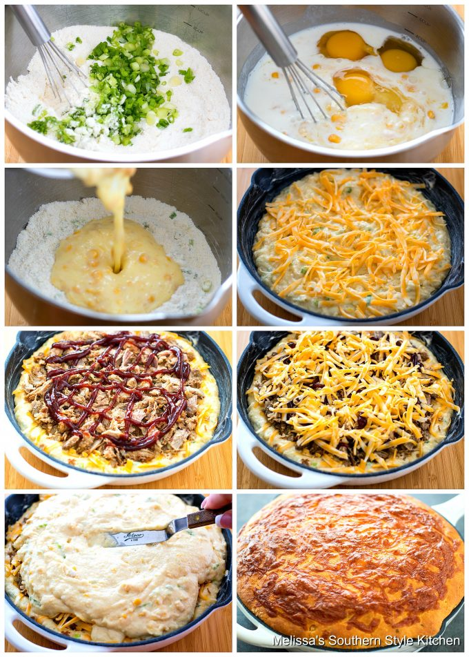 Step-by-step preparation images and ingredients for cornbread