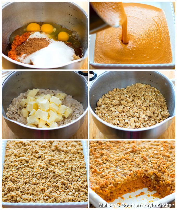 Step-by-step preparation images and ingredients for Pumpkin Pie Crumble