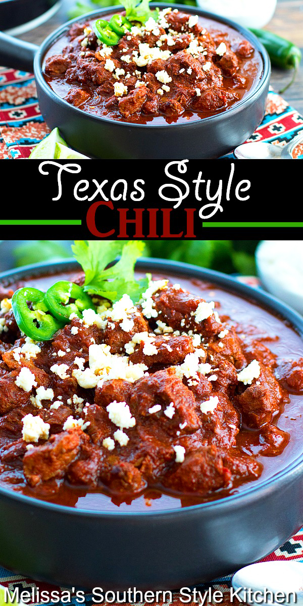 This rich and hearty all beef Texas Style Chili is packed with flavor and color to boot #texaschili #chilirecipes #chili #beefrecipes #chuckroastrecipes #nobeanschilirecipe #dinner #dinnerideas #southernfood #southernrecipes
