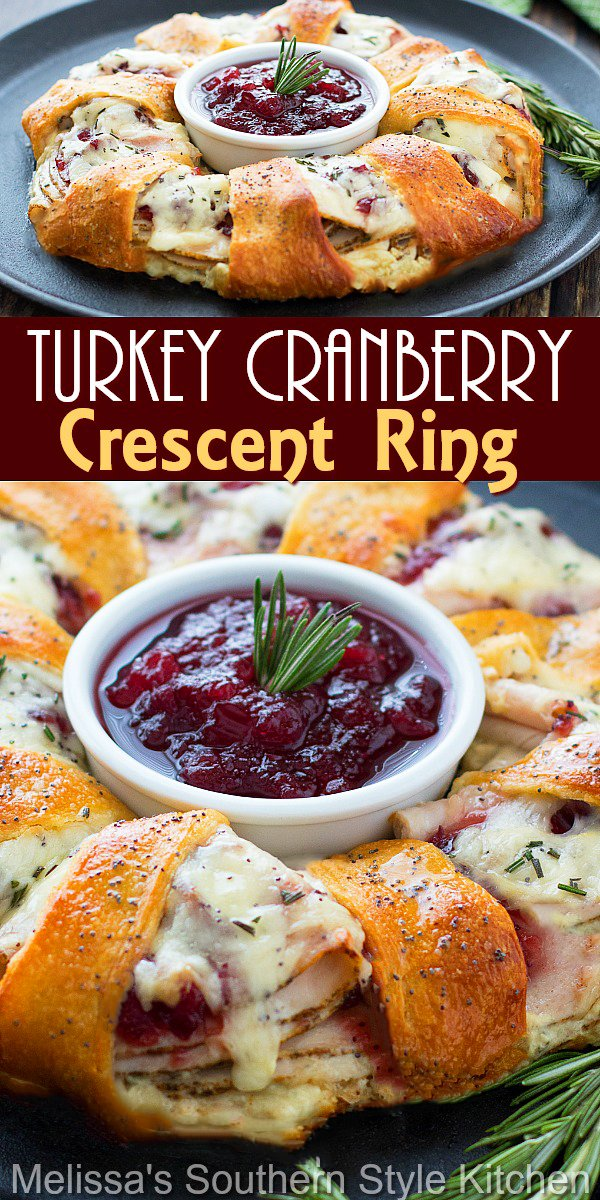 Turn leftover turkey or deli turkey into a rock star snack with this Turkey Cranberry Crescent Ring #turkey #leftoverturkey #crescentrolls #turkeycrescentring #thanksgiving #fallbaking #appetizers #christmas #southernfood #southernrecipes #cranberrysauce