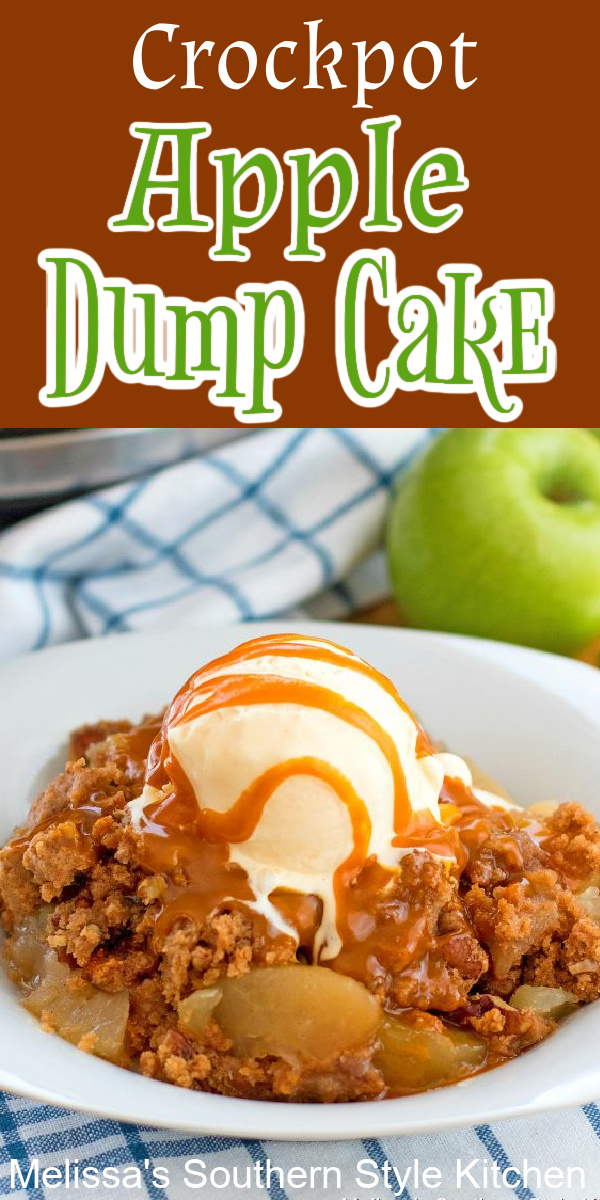 This easy Crockpot Apple Dump Cake takes minutes to assemble. Serve it with a generous scoop of vanilla ice cream and a drizzle of butterscotch ganache for the finish #crockpotappledumpcake #appledumpcake #apples #fallbaking #thanksgivingrecipes #slowcookercakes #cakerecipes #applecake #butterscotchsauce #cakes #dumpcakes #southernrecipes #southernfood