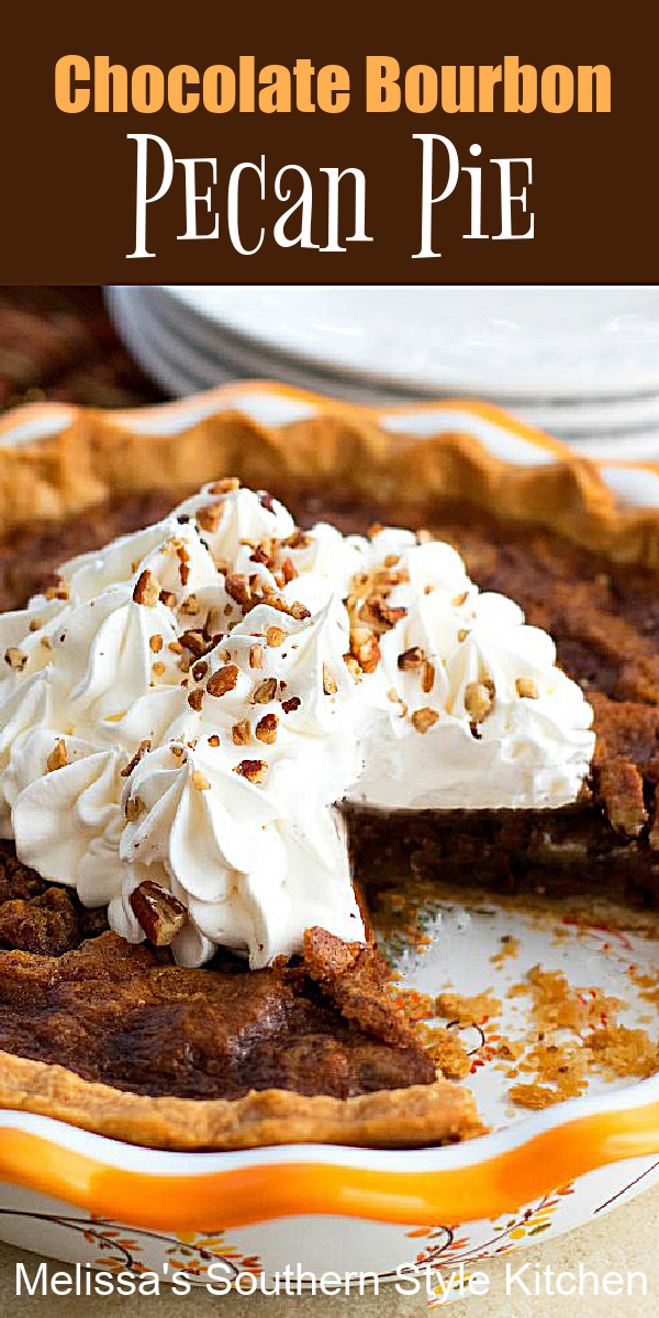 Treat yourself to a piece of this indulgent bourbon infused chocolate chip pecan pie with a scoop of vanilla ice cream #chocolatepecanpie #pierecipes #pecanpie #chocolatechips #southernpecanpie #kentuckyderbydesserts #holidaybaking #holidayrecipes #southernfood #southernrecipes