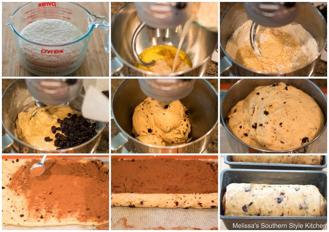 Step-by-step preparation images for cinnamon raisin bread