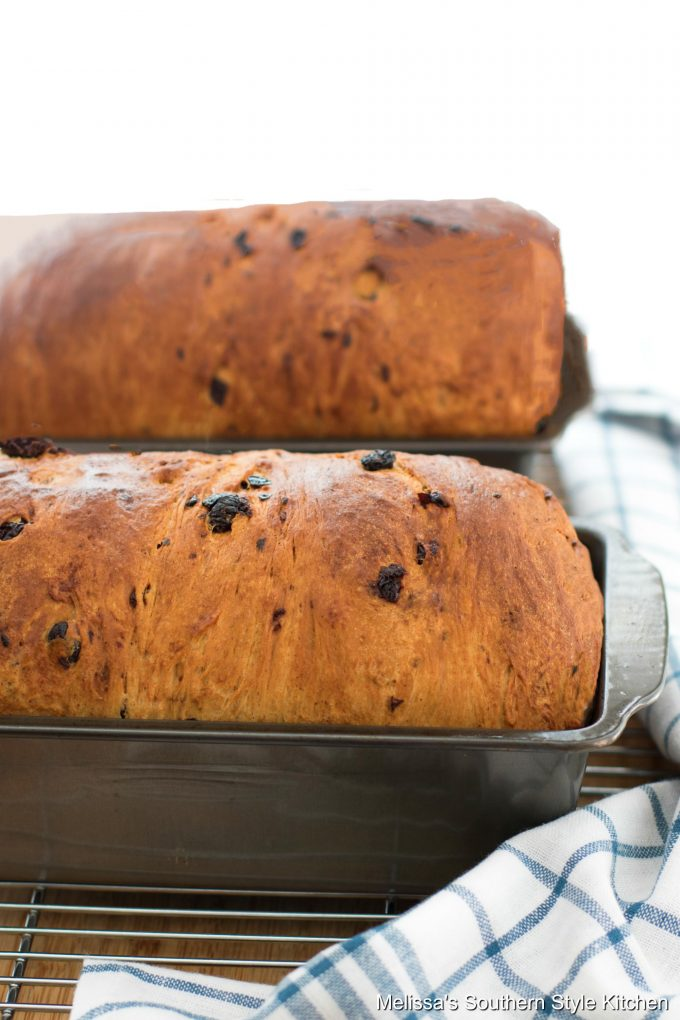 Cinnamon Swirl Raisin Bread in a loaf pan