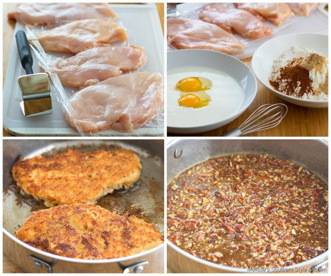 Step-by-step preparation images for honey pecan chicken