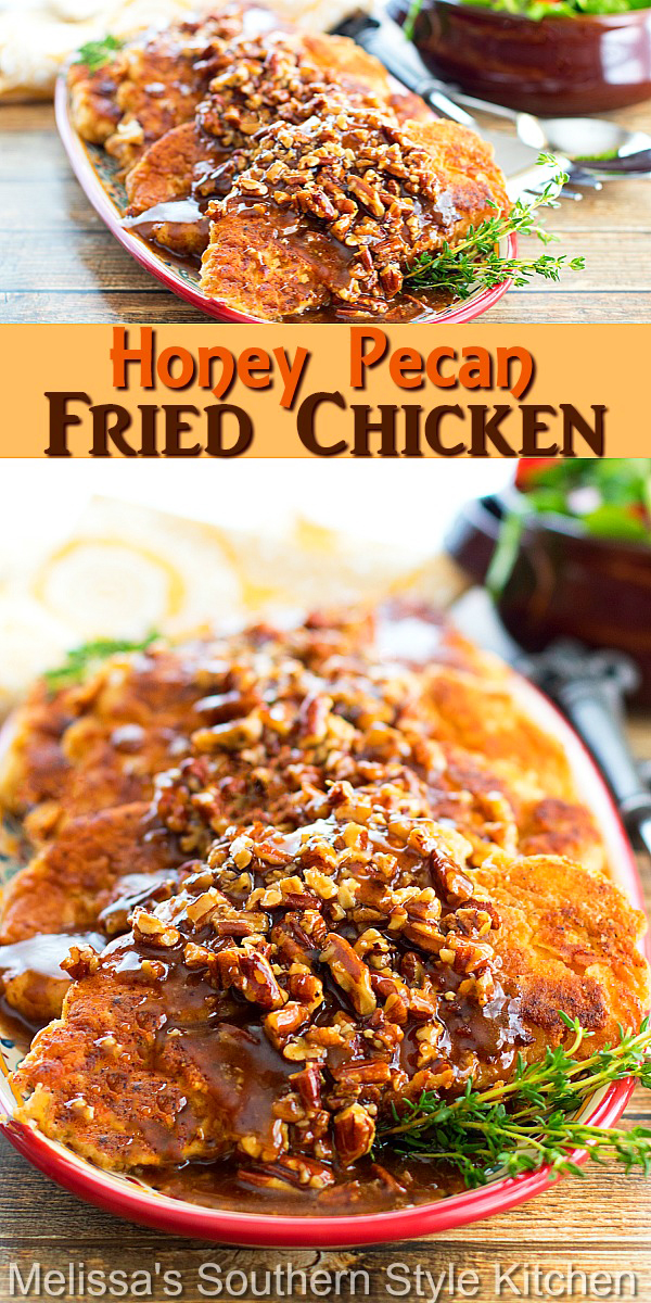 This decadent Honey Pecan Fried Chicken is drizzled with a homemade honey glaze that takes it over the top #easyfriedchicken #honeypecanchicken #easychickenrecipes #Southernfriedchicken #honeypecanglaze #dinner #dinnerideas #chickenbreastrecipes #southernfood #southernrecipes