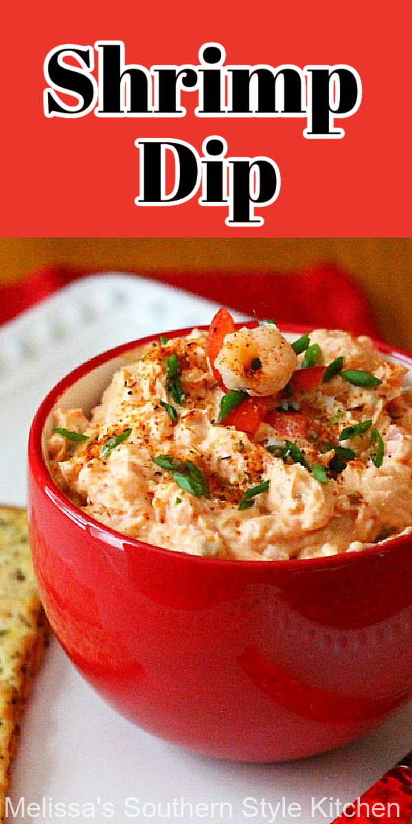 This Shrimp Dip Recipe can be enjoyed as an appetizer with crackers or pita chips or, as a spread for croissants and sandwiches #shrimpdip #shrimpdiprecipe #seafooddip #seafoodrecipes #shrimp #easyrecipes #appetizers #partyfood #holidayrecipes #southernrecipes #southernfood