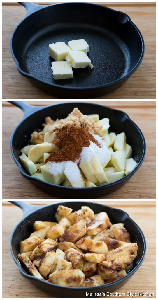Step-by-step preparation images and ingredients for fried apples