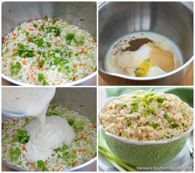 Step-by-step preparation images and ingredients for cole slaw