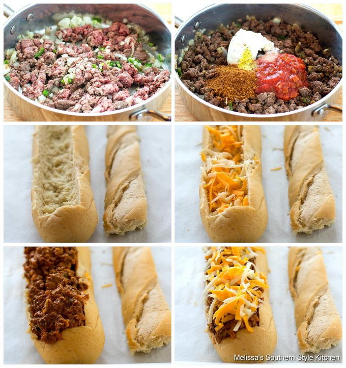 Step-by-step preparation images and ingredients for Stuffed Taco Bread