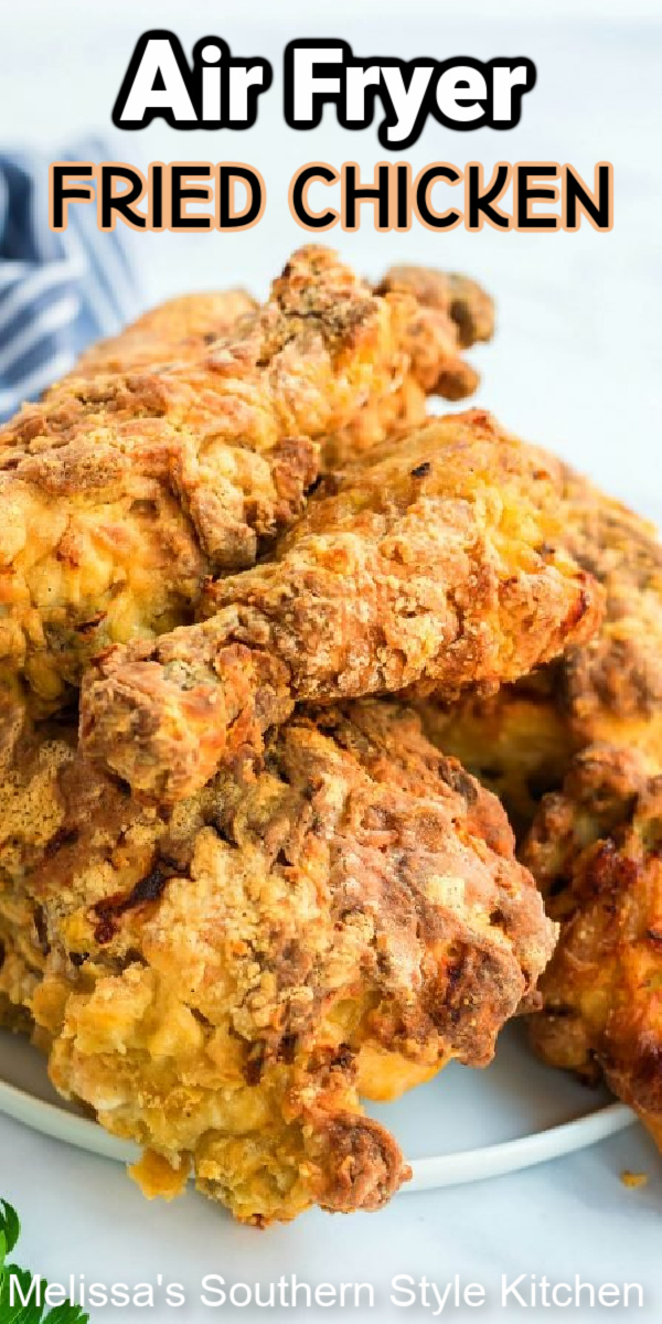Ditch the oil and treat yourself to crispy Air Fryer Southern Fried Chicken for supper #friedchicken #airfryerfriedchicken #friedchickenrecipes #southernfriedchicken #southernfriedchicken #chickenrecipes #southernfood #airfryer #southernrecipes