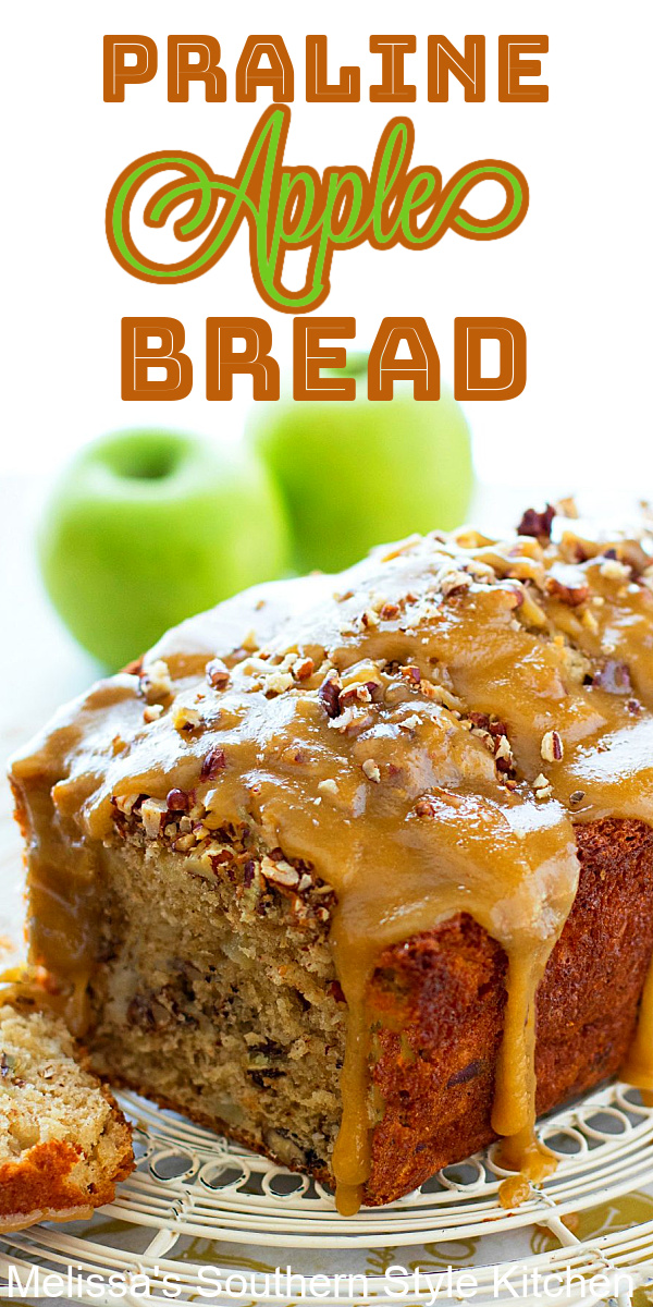 This decadent Praline Apple Bread is the epitome of indulgence. Enjoy it for breakfast, brunch or as a mid-morning treat #applebread #pralineapplebread #apples #applerecipes #harvestapplebread #quickbreadrecipes #brunch #breakfast #holidaybaking #fallrecipes #breadrecipes #apple #southernfood #southernrecipes
