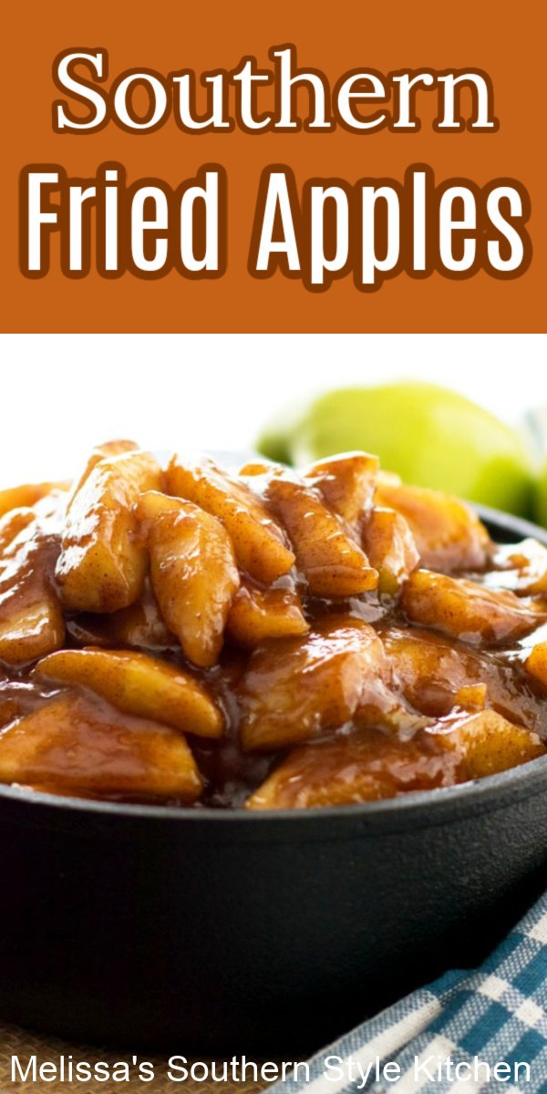 Serve these fried apples as a side dish with chicken, ham or pork, ladled over biscuits and pancakes or for dessert with vanilla ice cream #southernfriedapples #friedapples #applerecipes #sikdedishrecipes #fruit #appledesserts #dessertfoodrecipes #desserts #fallbaking #thanksgiving #southernfood #soujthernrecipes #brunch #breakfast #dinnerideas