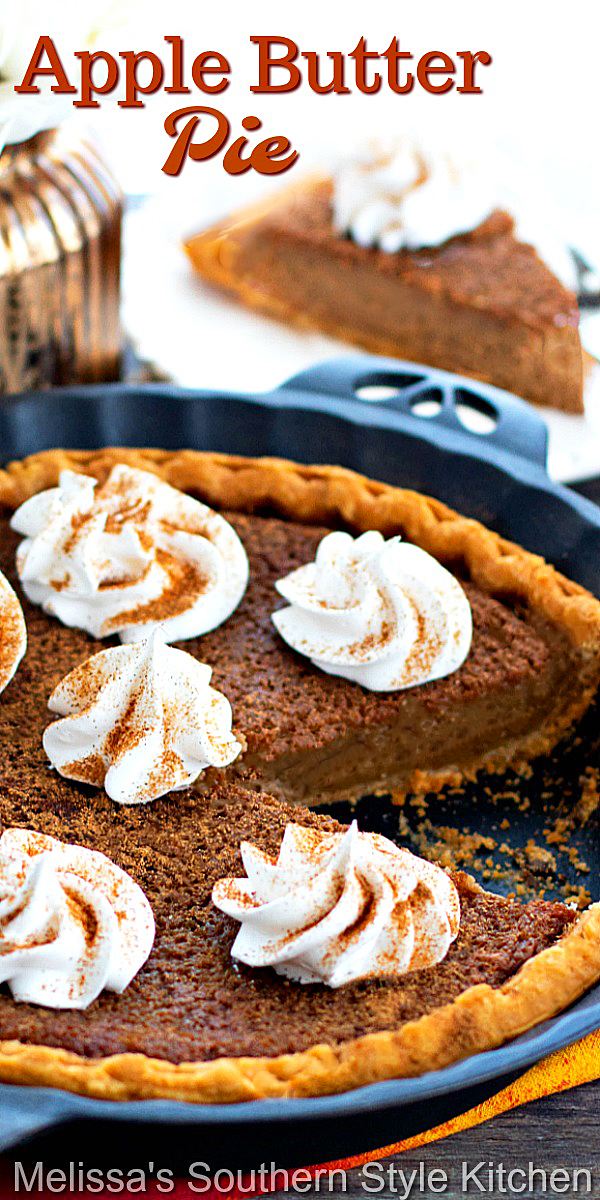 Treat yourself to a big piece of homemade Apple Butter Pie for dessert #applebutterpie #applebutter #applepie #pierecipes #harvestrecipes #fallbaking #pie #desserts #dessertfoodrecipes #southernfood #southernrecipes #thanksgivingdesserts