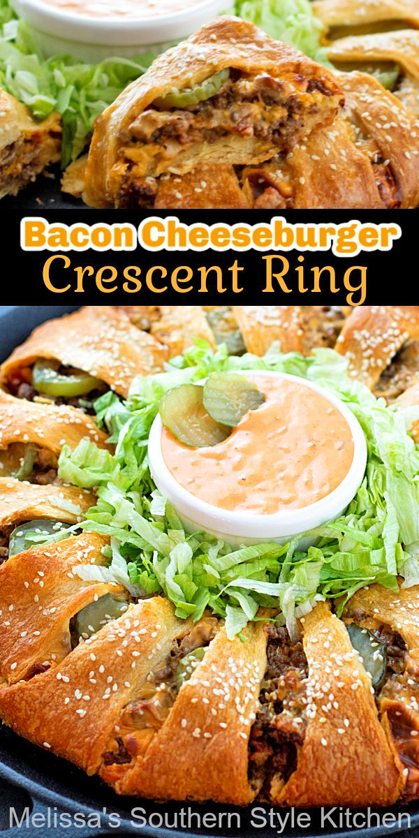 This mouthwatering Bacon Cheeseburger Crescent Ring is a fun way to elevate casual dinners, snacks and game day eats #baconcheeseburger #cheeseburgers #bacon #dinner #dinnerideas #crescentrolls #crescentrollring #southernfood #southernrecipes #bestrecipes baconcheeseburgercrescentring #specialburgersauce