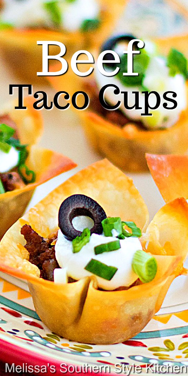 These two-bite Beef Taco Cups are made with wonton wrappers for the crust. top with your favorite taco fixin's and devour #beeftacos #beeftacocups #tacorecipes #appetizers #mexicanfood #partyfood #easygroundbeefrecipes #gamedayfood #snacks #southernfood #southernrecipes #superbowlsnacks