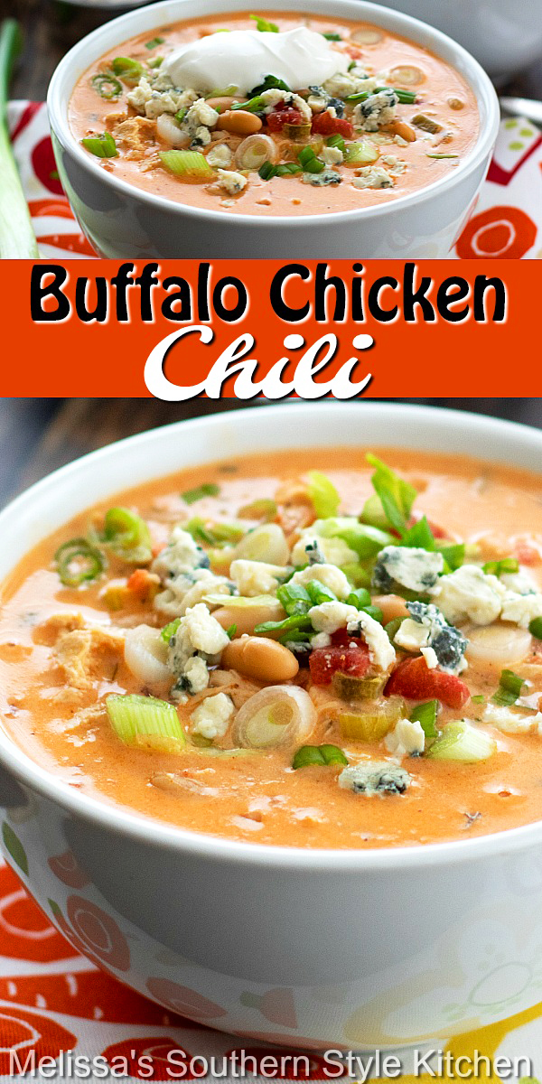 Topped with bleu cheese crumbles and sliced green onion, this Buffalo Chicken Chili is sure to bring the heat to your meal #chickenchili #buffalochickenchili #buffalochicken #hotwings #easychickenrecipes #bestchickenrecipes #maindishrecipes #dinner #dinnerideas #southernfood #southernrecipes