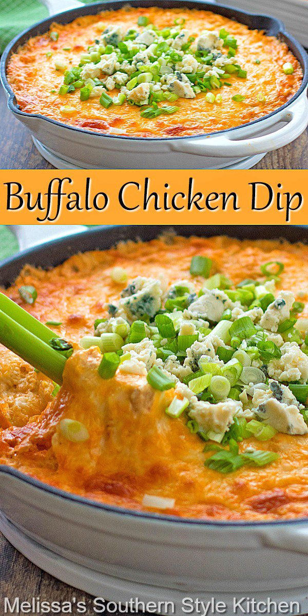 This Buffalo Chicken Dip is warm, gooey and ready for dipping with celery sticks, fritos, tortilla chips, crackers or garlic bread #buffalochickendip #buffalowingsrecipe #easydiprecipes #snacks #wings #easychickenrecipes #easychickenbreastrecipes #southern recipes