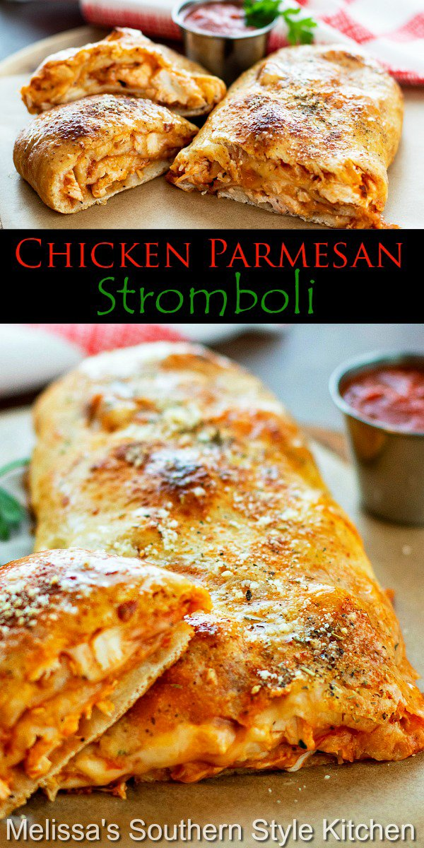 Enjoy this family-style Chicken Parmesan Stromboli with warm pizza sauce on the side, for casual meals and snacking #chickenparmesan #chickenstromboli #easychickenparmesan #easychickerecipes #chicken #snacks #gamedayfood #stromboli #pizzadough #dinner #dinnerideas #Italianstromboli